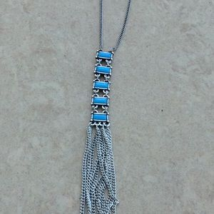 Silver Tone Turquoise Link Tassel Long Necklace